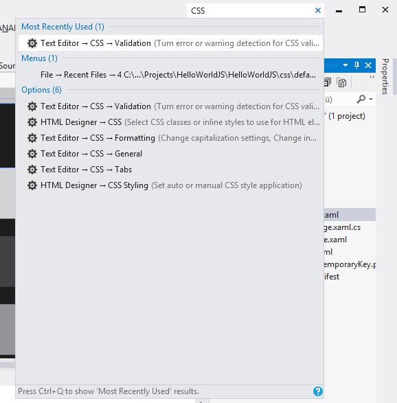 """Das neue QuickFind-Feature hilft beim Aufspüren von """"versteckten"""" Funktionen und Einstellungen."""