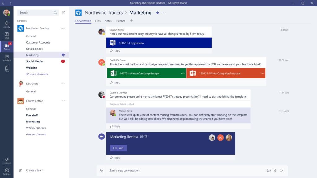 Microsoft Teams unterstützt Threads in Team-Chats.