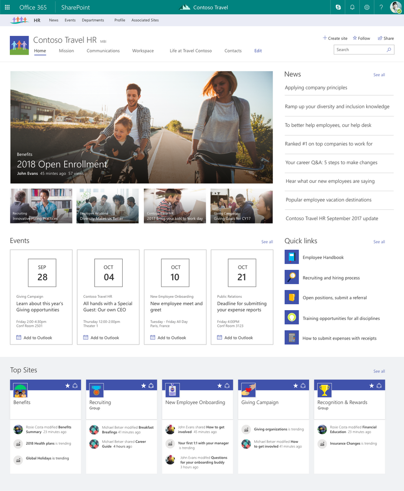 SharePoint Hub Sites (Bild: Microsoft)