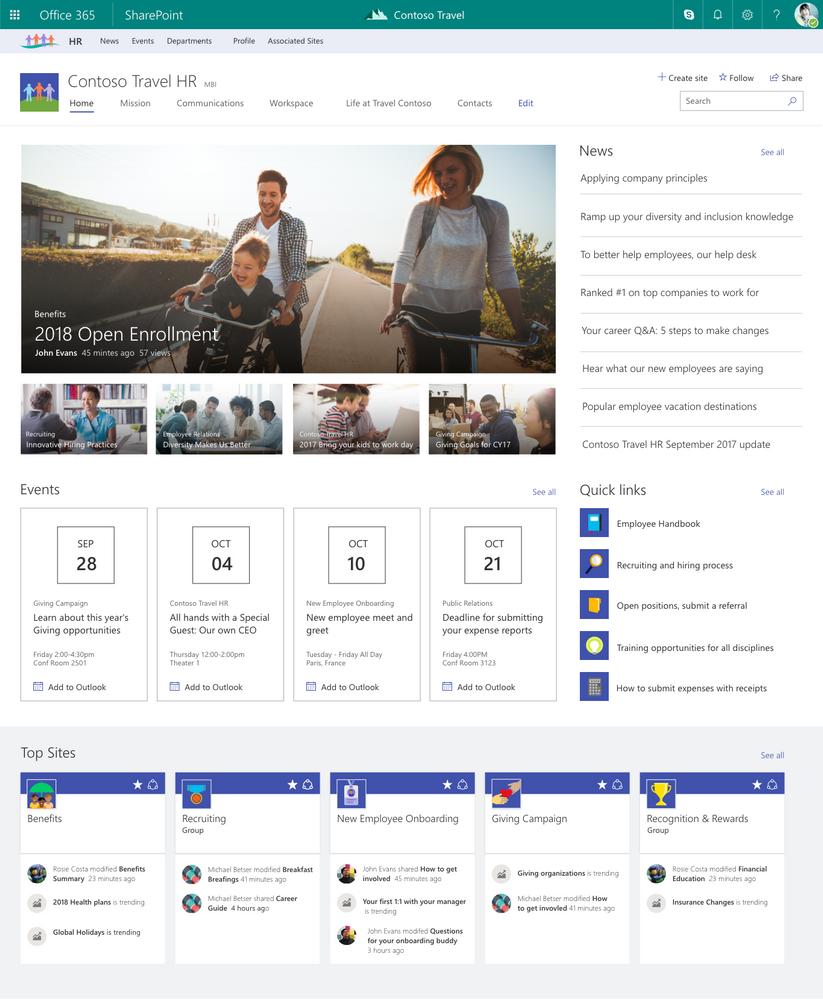 SharePoint Hub Sites (Bild: Microsoft)