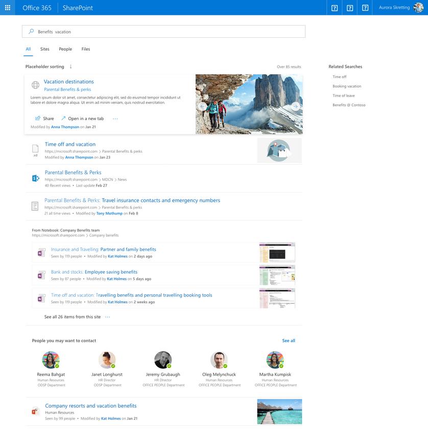 Die neue Such-UI für Office 365 und SharePoint.