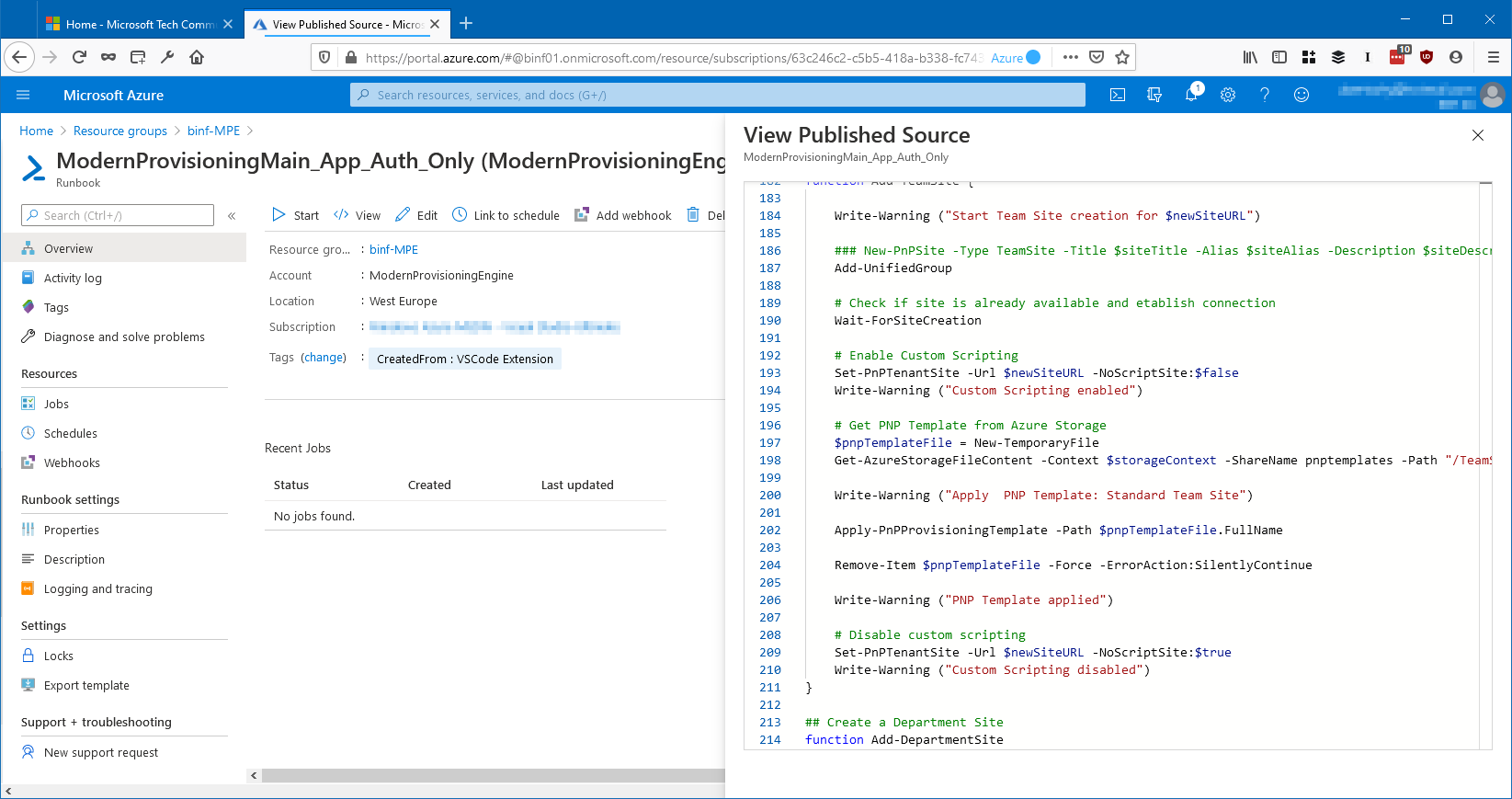 Team Provisioing via Azure Automation Runbooks